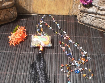 Necklace With Vintage Textiles Beautiful Beads And Magic Beaded Necklace