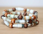 Mother Goose Recycled Paper Bead Bracelet Set, Elastic Stacked Bracelet Set Perfect for Teacher Gift, Librarian Gift, Book Lover Gift