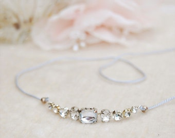 Bridal simple crystal headband, minimal headpiece, rhinestone hair jewelry, bohemian bride, bridesmaid gift, bracelet or anklet - Style 328