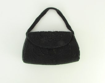 Jet Black Beaded Purse - Vintage  1940s Black Beaded Evening Handbag