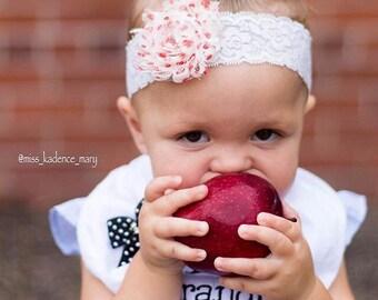 Fall Baby Headband. Fall Newborn Headband   Apple Picking Baby Outfit. First Day of Preschool Headband.  First Day of Preschool Outfit.