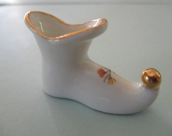 Vintage SHOE Ladies Porcelain Limoges France French Slipper White and Gold with Flower Miniature Vase