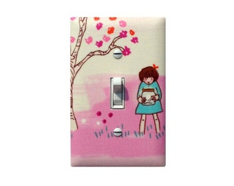 Switchplate Cover / Firefly Girl Light Girls Room Bedroom Bathroom Decor / Nursery Wee Wander Woods in Petal Pink Michael Miller