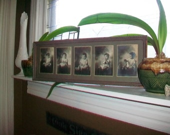 Vintage Framed Photographs Adorable Baby Boy 1920s Series of 5 Photos