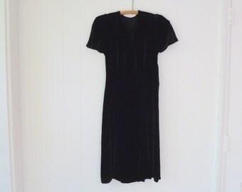 40's Silk Velvet Dress Jet Black Flowing Flutter Sleeve Bias Cut Cocktail Day Dress XS S