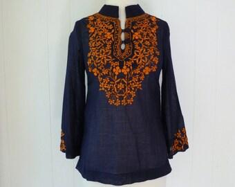 70's Ethnic Tunic Shirt Embroidered Orange Navy Sheer Gauze Top Blouse XS S