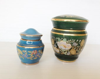 BLACK FRIDAY SALE two empty greek ceramic  perfume urns, solid perfume containers