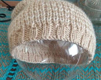 Striped Slouchy Knit Beanie - Almond & Creme