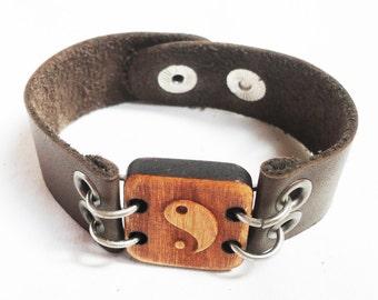 Yin Yang / Leather Bracelet / Cuff Bracelet
