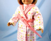 Doll Clothes American Girl - Flannel Pajama and Robe Set for 18 Inch Dolls - Peach - 18 Inch Doll Clothing