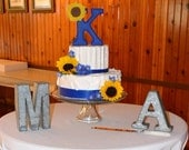 Distressed wood letter initial with sunflower wedding cake topper. Royal blue or custom color