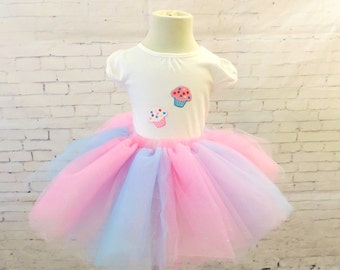 Birthday tutu outfit 1st birthday dress tutu pink blue cupcake party glitter tutu skirt tulle skirt toddler tutu sewn tutu skirt