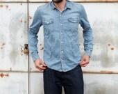 Vintage 90s Mens Work Wear Denim Shirt Button Down Jean Oxford Shirt Medium