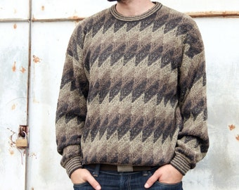 Vintage 80s Zig Zag Earth Tones Knit Sweater