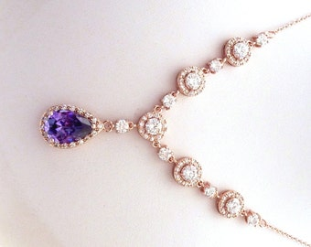 Bridal Necklace ROSE GOLD Amethyst Peardrop and Round Cubic Zirconia Pink Gold Wedding Necklace