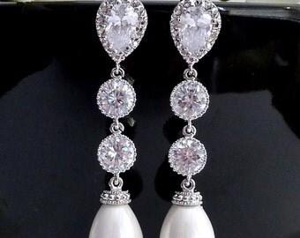 Wedding Earrings Bridal Earring WhiteTeardrop Pearl, Multi Round CZ Drop with White Gold Plated Peardrop Cubic Zirconia Post Earring