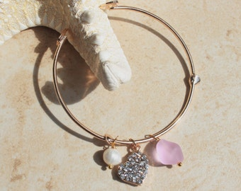 Delicate gold Bangle Bracelet, Adjustable Bracelet, Gold Rhinestone Heart, Pearl, Moonstone, Blue Pink Sea glass, Choose color, Inarajewels