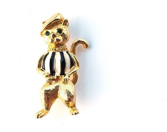 Vintage Anthropomorphic French Cat Brooch Pin - Enamel Striped Shirt - Rhinestone Green Eyes -  Newview New View Signed - Gold Tone