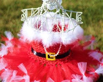 Christmas Santa Tutu with Santa hat headband-- Christmas tutu-- Santa tutu-- Girls Santa dress-- Christmas Pageant Dress--
