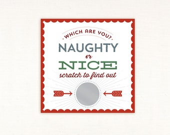 Christmas Scratch Off Card, Naughty or Nice, fun, which are you, fun christmas card