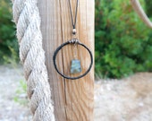 Leather Hoop Necklace with Labradorite Pendant