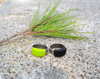 Antique Silver Brass Wrapped Ring - neon green/ black