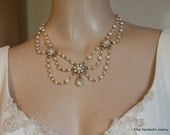 Bridal Necklace Rose Gold Victorian Bridal Vintage Necklace Wedding Necklace Pearl Necklace Rhinestone Gold collier Ivory Pearls FLORENCE