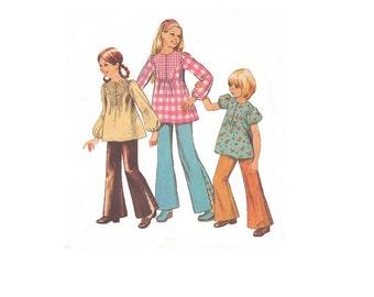 Simplicity 5381 Vintage 1970s Sewing Pattern Girls Pattern Tunic Pattern Top Pattern Blouse Pattern Pants Pattern Elastic Waist Puff Sleeves