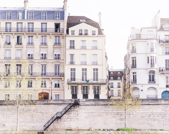 Paris Street Photograph, On the Quai d'Orleans, Urban Travel Architecture Photo, Neutral Decor, French Home Decor, Large Wall Art