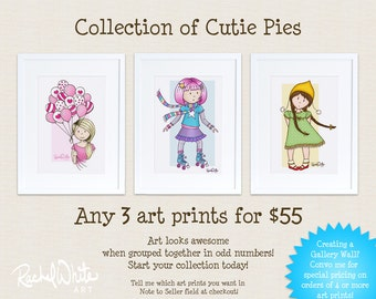 Collection of 3 Cutie Pie Art Prints