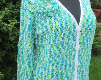 Lovely bright multi coloured cardigan with white edging and removable rose brooch in a larger size