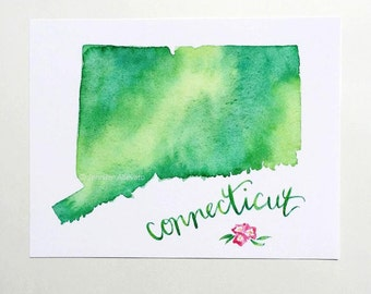 Connecticut watercolor state art print home decor green hand lettering
