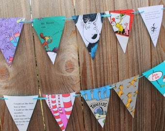 Dr. Suess Party Banner Vintage Book Pages Pennant Bunting Garland - Lorax, Cat in the Hat, Horton Hears a who, Green Eggs and Ham, etc