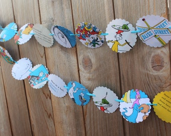 Dr. Suess Party Banner Vintage Book Pages scalloped Bunting Garland - Lorax, Cat in the Hat, Horton Hears a who, Green Eggs and Ham, etc9