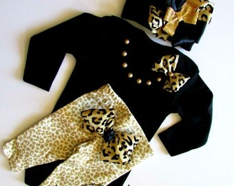 Newborn Baby Girls' Clothing Set, Baby Girl DIVA Take Home Outfit, Black and Gold Leopard Print Outfit, Baby Girl Shower Gift