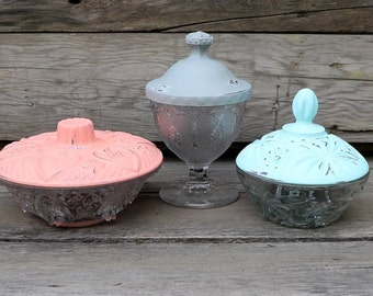 Set of 3 Upcycled Candy Dishes - Painted Dishes - Bathroom Storage - Nursery - Office - Coral, Icy Mint, and Gray - Candy Buffet - Glass