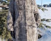 vintage grey mink fur coat - 60s