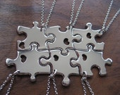 Six Puzzle Necklaces With Hearts