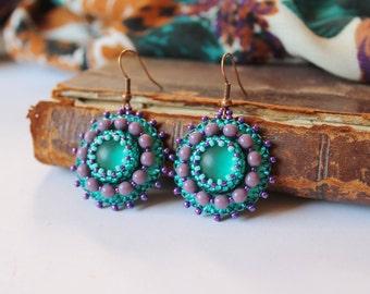Purple Green Dangle Earrings Green Jewelry Purple Beads Earrings Purple Glass Earrings Boho Earrings Beadwork Earrings Bead Embroidery