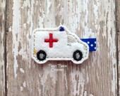 Ambulance Hair Clip, Ambulance Hair Bow, Emergency Vehicle Hair Clip, Felt Hair Clip, Embroidered Felt Clippie for Baby, Toddler or Girl