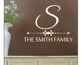 Family Name and Monogram Wall Decal NM-136