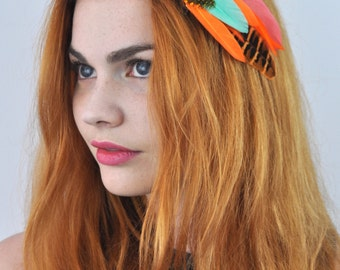 Tropical Feather hair Clip inOrange and Turquoise
