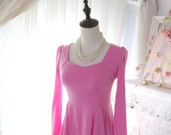 SALE  - Barbie Hot Pink Kitsch Sweetheart  Fall Fashion Peplum Top Blouse Hippie Women's Fashion Long Sleeves Princess Shoulder