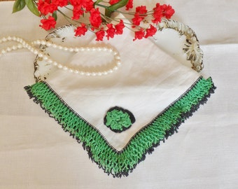 White and Green Hanky with Crocheted Lace, Ladies Handmade Hanky with Crochet