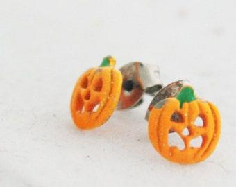 Earrings - Orange Jack o Lantern Halloween Pumpkin posts studs
