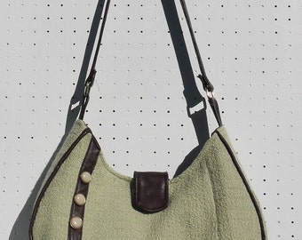 Medium Shoulder Bag Upcycled Vintage Jacket into Purse Green and Brown Bag Again Leather Accents Purse