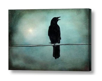 Gothic Raven Crow Surreal Landscape Twilight Magical Crow Raven Black Bird Magic Wiccan Fine Art Photography on Giclee Gallery Wrap Canvas