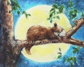 "Baby  Bear Animal  decor, nursery children wall art, ""Sleep Tight Baby Bear"" Laurie Shanholtzer, Canvas or  art paper print, wildlife"