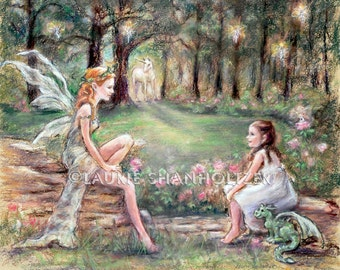 "Unicorn, Dragon, Fairies, Pixies, Child art, ""Fantasy Found"" Laurie Shanholtzer   Canvas or Cotton art paper prints of original painting,"