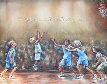 "Basketball Art Print, boys sports child room Canvas and art paper   ""Swish"" by Laurie Shanholtzer"
